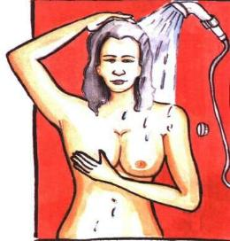 การตรวจหามะเร็งเต้าน้ำ ขณะอาบน้ำ